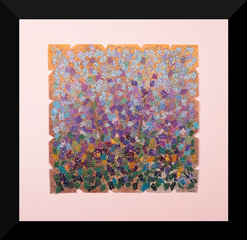 55  Purple tan Garden     Fiber: Matted and Framed Art Quilt