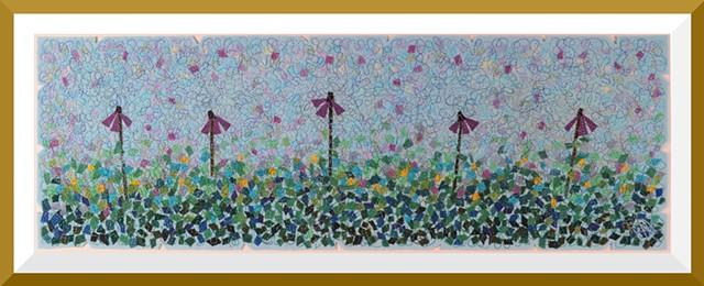 Contemporary Art Quilt, Fiber, Framed, Hand-dyed Fabric