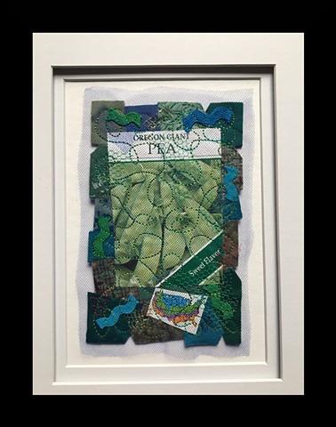 32  Seed Packet: Peas Fiber: Framed Contemporary Art Quilt