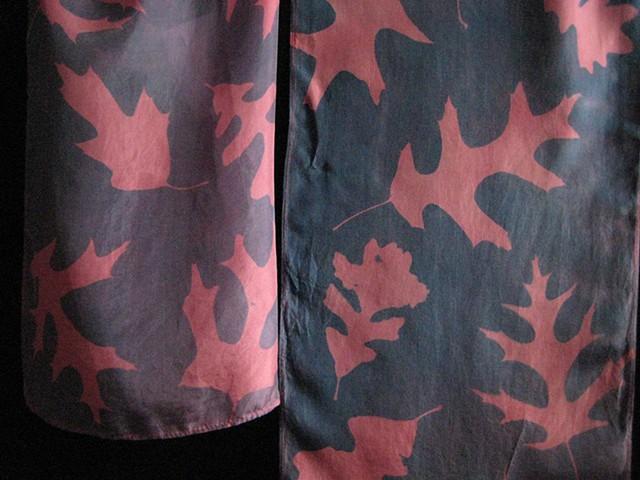 24B  Silk Scarf, Hand-dyed,Sun-printed  Red Oak
