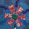 48   Blue Red Tootsie Candy Wrapper  Flower Fiber: Framed Contemporary Art Quilt