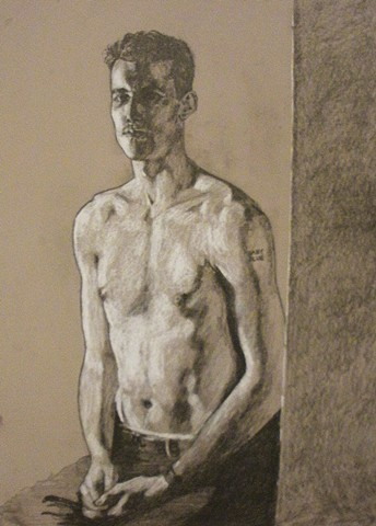 "Beginning Figure Drawing  2014, Charcoal & chalk on toned paper 18"" x 24"""