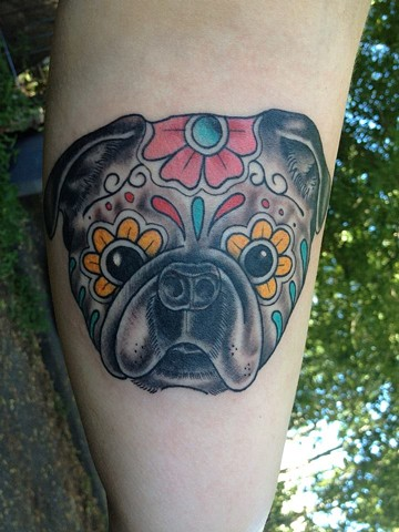 sugar skull pug tattoo