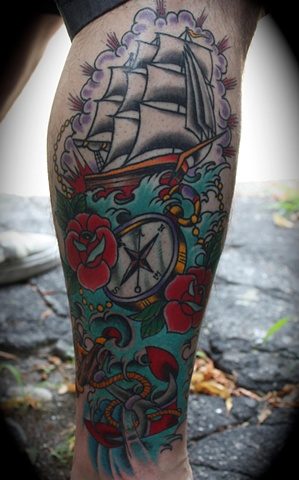 clipper ship compass anchor