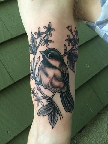black capped chickadee tattoo