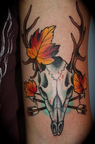 deer skull and leaves