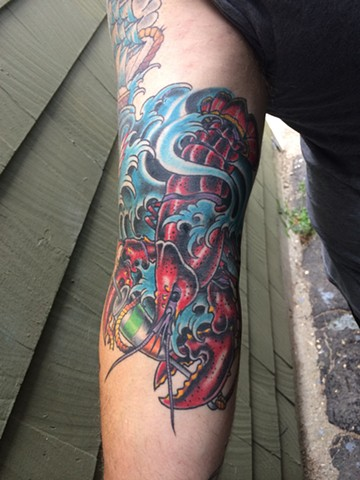 lobster and bouy tattoo