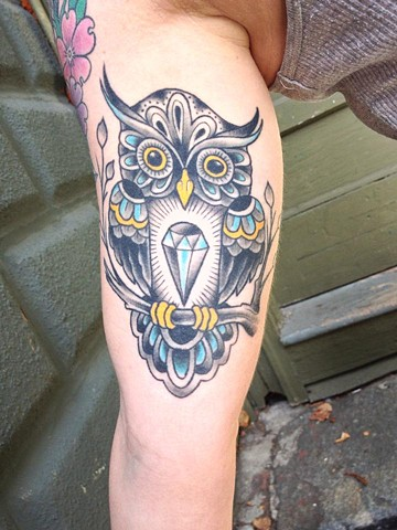 textile owl tattoo