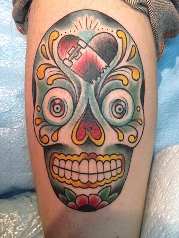 sugar skull skateboard tattoo
