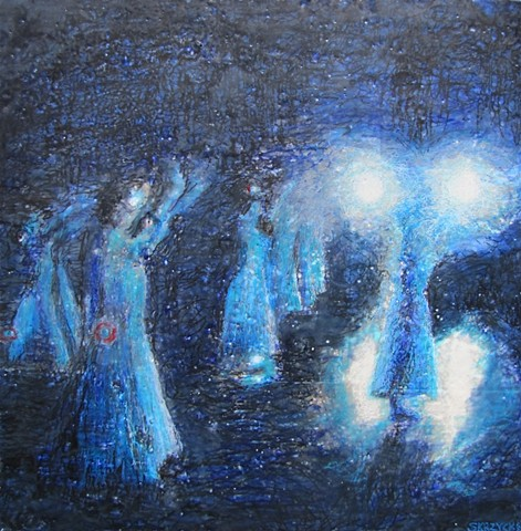 art, encaustic, susan skrzycki, dancers, stage, blue, light, contemporary