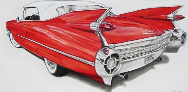 Skrzycki, Cadillac, car, vintage, painting, picture, art, retro, rockabilly, collector