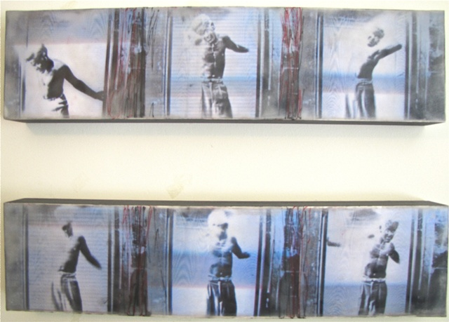 Susan Skrzycki, photo, encaustic, collage, art, man, cathode ray, picture
