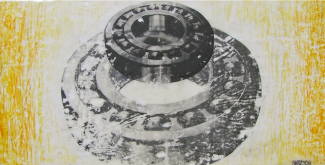 Skrzycki, ball bearing, industrial, encaustic, painting, art, drawing