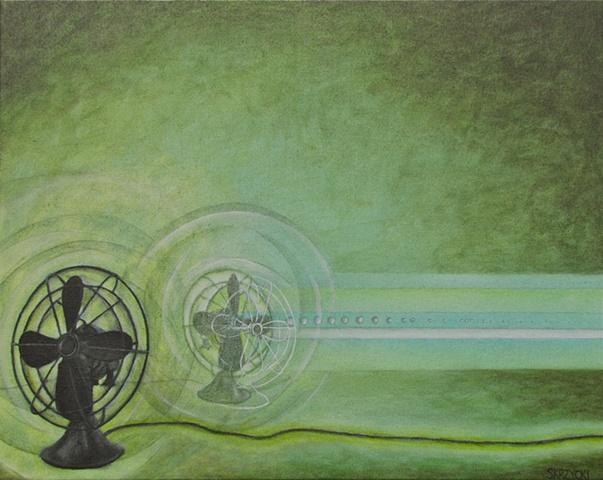 Skrzycki, antique, fan, painting, picture, the, a, art, surreal, green
