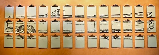 Eldorado, Cadillac, Susan Skrzycki, art, clip board, installation