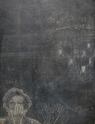 Susan Skrzycki blackboard big art panel surreal