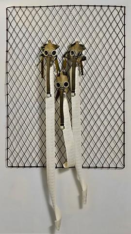 Skrzycki, Susan, gas masks, art, metal, paper, strange, bizarre, weird, the, and, a