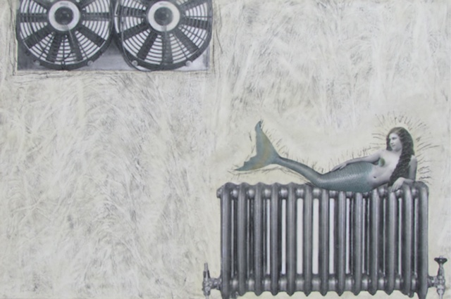 Susan Skrzycki, mermaid, radiator, vintage, retro, art, picture, encaustic, wax, collage