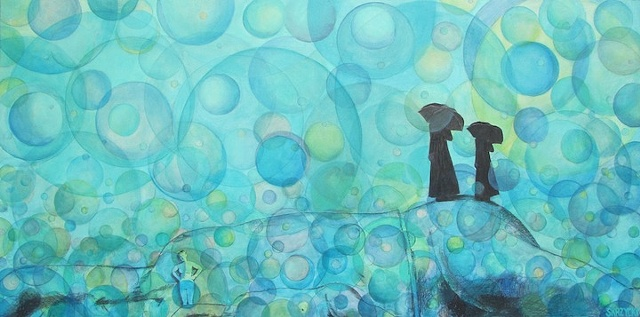 Susan Skrzycki, funeral, mourners, blue art painting nude surreal the spheres