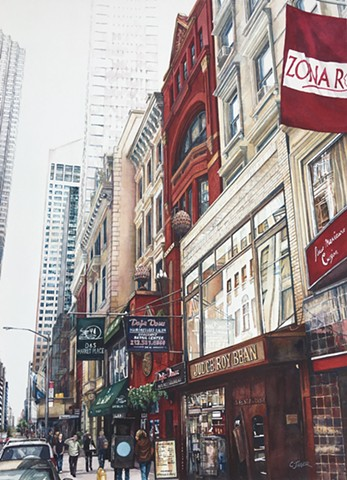 Watercolour by Conny Jager, Judge Roy Bean, New York pub, street scene, painting