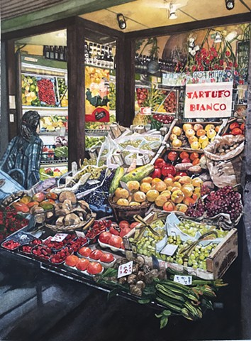 Watercolour by Conny Jager Calgary Artist realism Italian Grocery