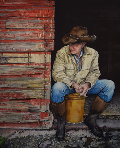 A quintessential cowboy portrait done in watercolour by Conny Jager