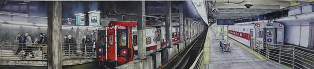 New York Train Image, Watercolour, Calgary Artist