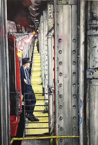 Watercolour by Conny Jager New York Train Operator, painting, realism, Calgary Artist