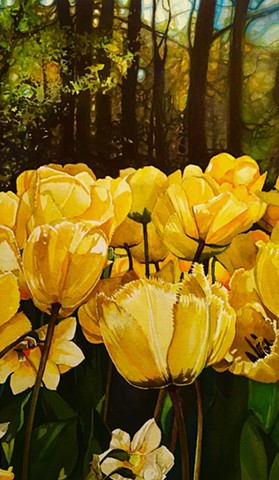 Watercolour Painting by Conny Jager Flora and Fauna yellow Tulips