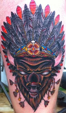 Buffalo headdress traditional tattoo