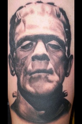 Black and Grey Tattoo portrait Frankenstein