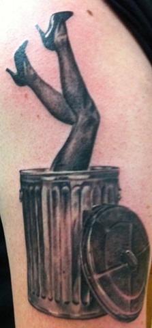 Trashcan Girl Portrait Tattoo