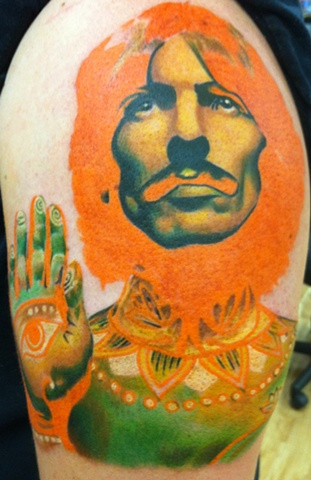 George Harrison Beatles color portrait tattoo