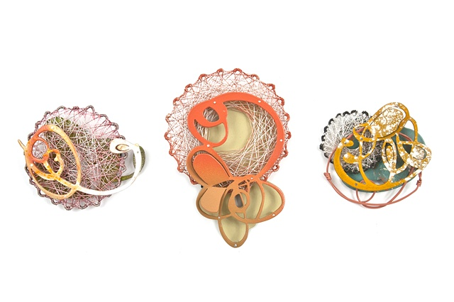 Spun Trio Brooches