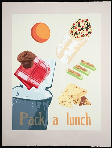 screenprint of food by heather kasvinsky