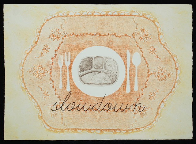hand stitching, drypoint, collagraph, food, slow down, heather kasvinsky artist