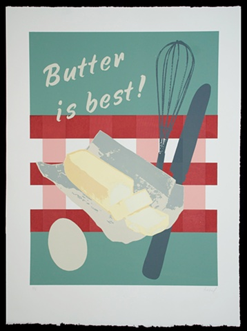 Screenprint, Butter, Food by heather kasvinsky