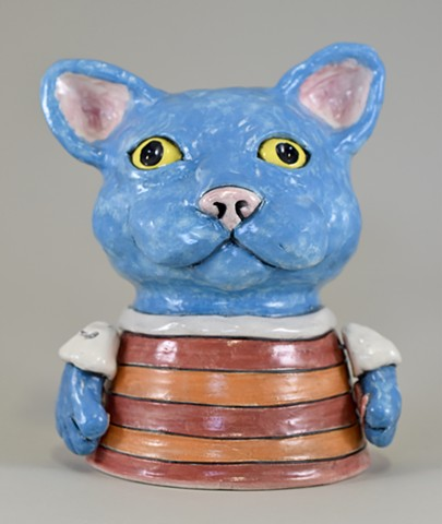 Blue Kitty Lamp