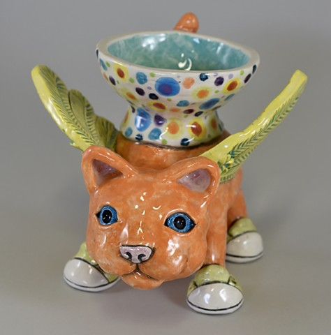 Winged Kitty with Bowl