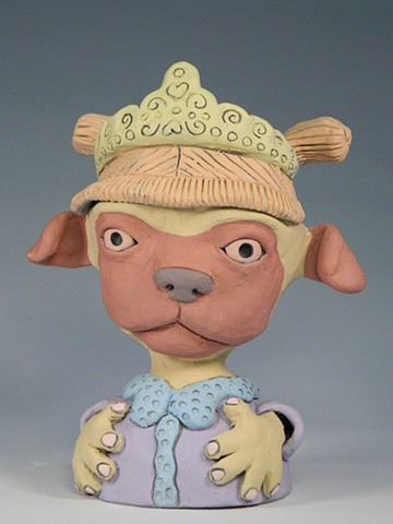 Tiara Pug Girl Lidded Jar