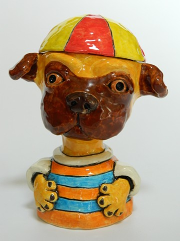 Pug Boy Lidded Jar