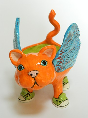Orange Winged Cat Bowl