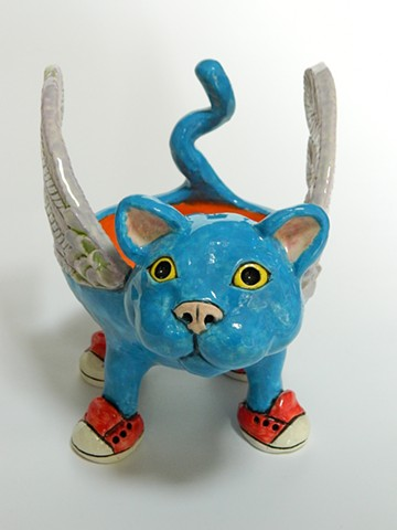 Blue Winged Cat Bowl