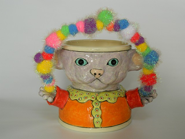Purple Juggling Cat Bowl