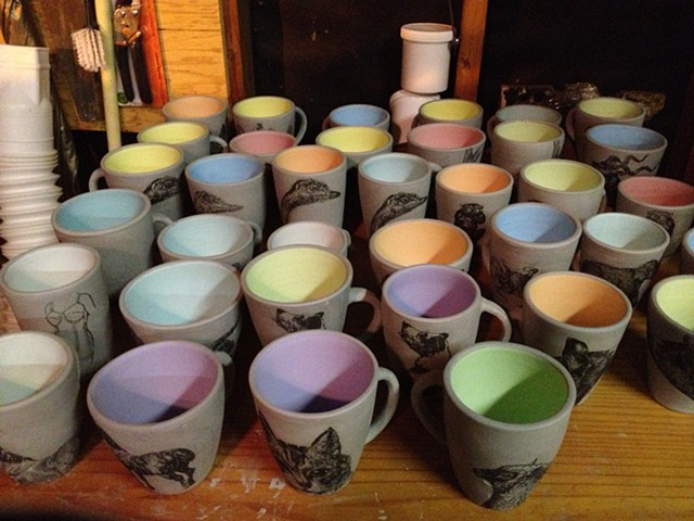 Adding color to the mugs