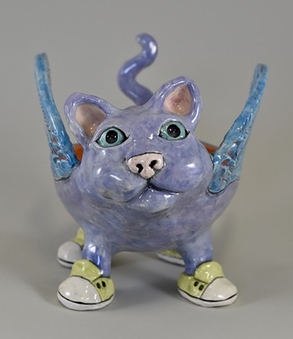 Purple Winged Kitty Bowl