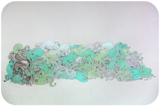 Drawing / Painting of a woman covered in blue and green octopuses by Jenny Kendler