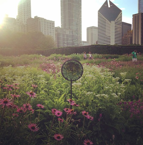 The Tell it to the Birds microphone set up temporarily in Millennium Park's Lurie Garden