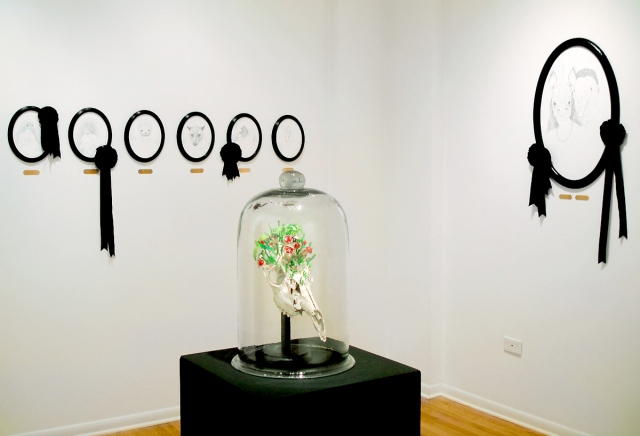 Photo of Jenny Kender's solo show, Wunderkammer, at Kasia Kay Art Projects - showing her drawings and sculpture