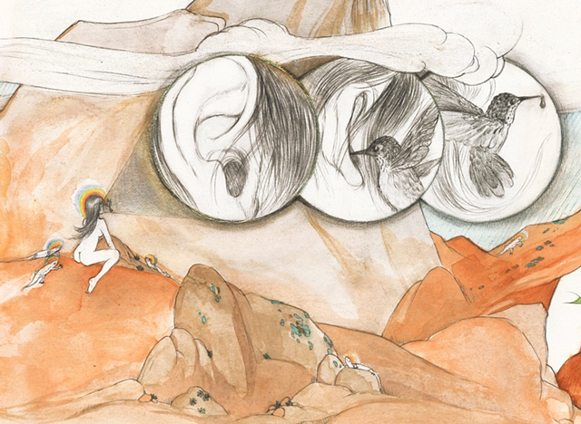 Detail shot of drawing / painting of a desert scene showing a hummingbird drinking from a woman's ear, hopi petroglyphs, endangered lizards & a juniper tree draped with prayer flags - by environmental artist Jenny Kendler and dedicated to Ed Abbey